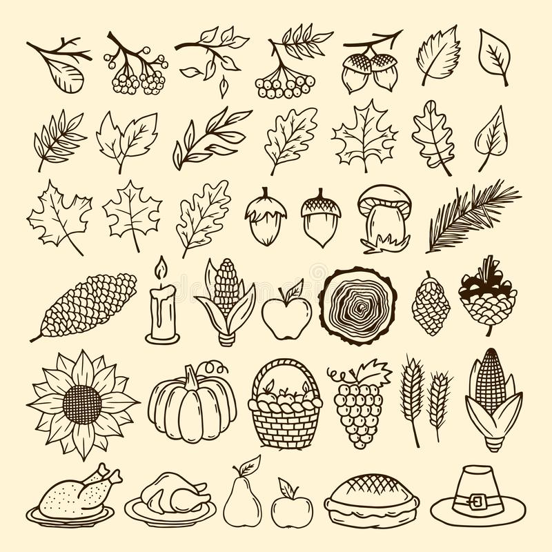Un ensemble d'éléments d'automne de nature faits main Éléments de la conception pour le thanksgiving et du festin de l'automne illustration stock
