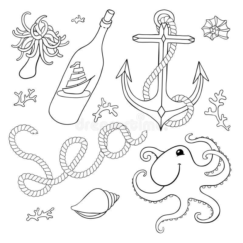 Un ensemble d'éléments : coquillages, corde, ancre, octopu illustration de vecteur