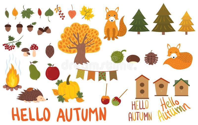 Un ensemble d'éléments d'automne Collection d'animaux et végétaux d'automne Illustration de vecteur dans un style de bande dessin illustration stock