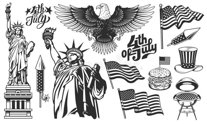 Un ensemble d'éléments de conception pour le Jour de la Déclaration d'Indépendance illustration stock