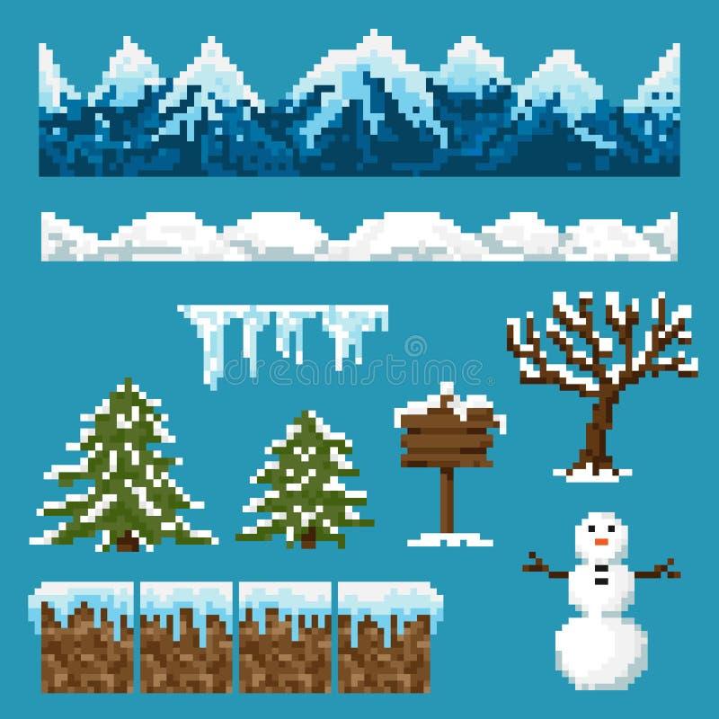 Un ensemble d'éléments de pixel pour créer un paysage d'hiver illustration stock