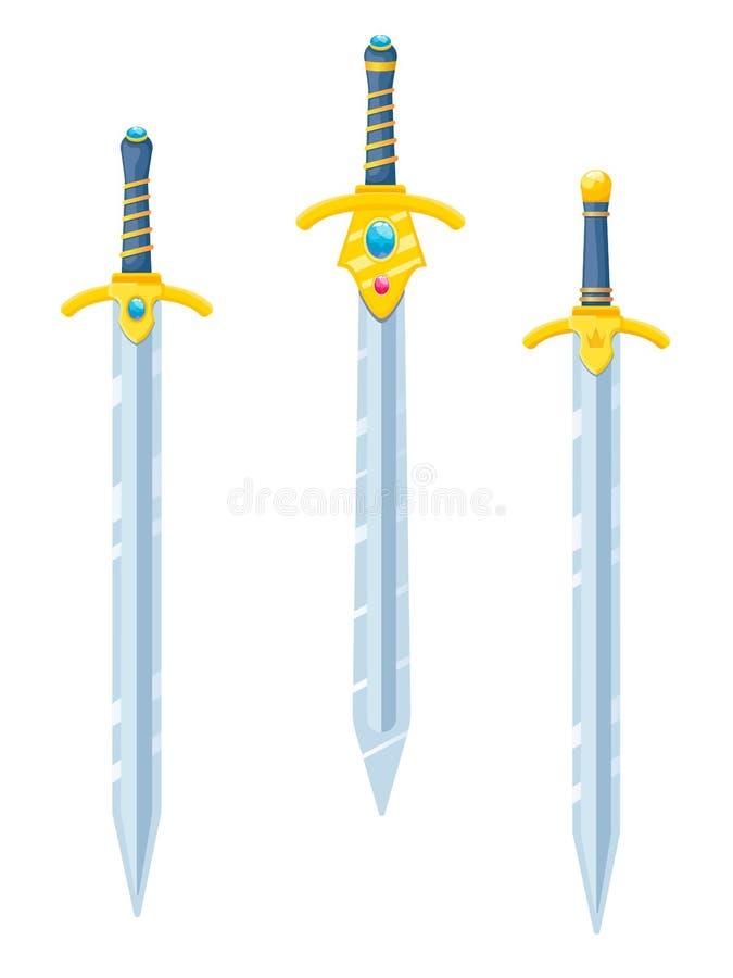 Un ensemble d'épées de chevalier dans le style d'appartement Le vecteur isole sur un fond blanc illustration stock