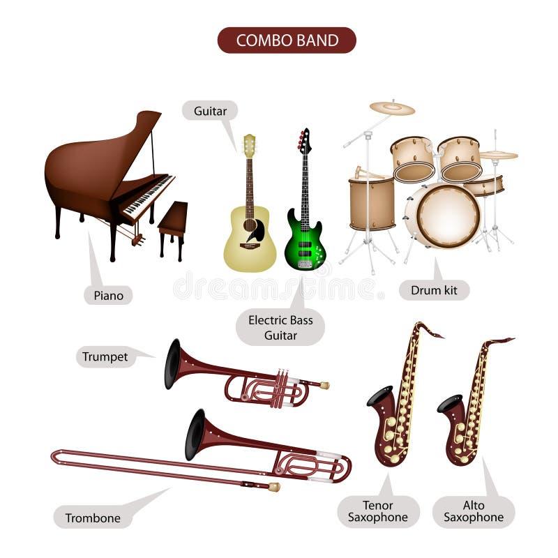 Un ensemble d'équipement combiné de musique de marque illustration stock