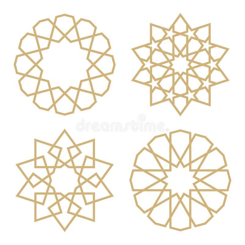 Un ensemble d'étoiles dans le style arabe illustration stock