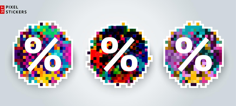 Un ensemble d'autocollants multicolores de vente de pixel avec un endroit sous le texte illustration de vecteur