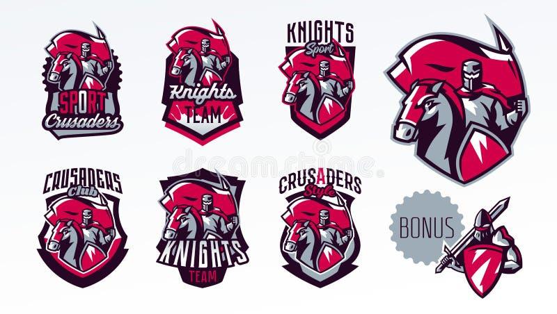 Un ensemble d'emblèmes, logos, autocollants, un chevalier avec un drapeau sur un cheval Croisé, épéiste, guerrier, armure, banniè illustration libre de droits