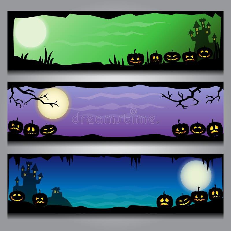 Un ensemble d'en-têtes horizontaux colorés de Halloween avec les cadres et le fond noirs de gradient illustration libre de droits