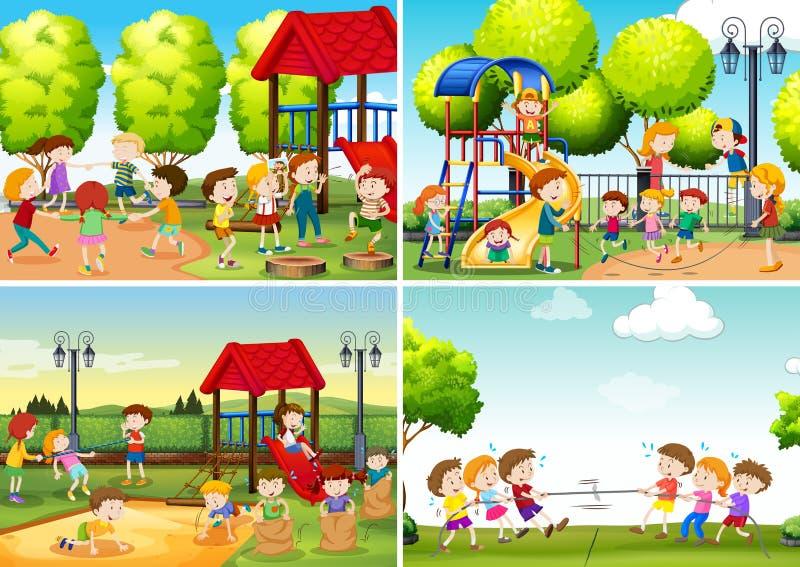 Un ensemble d'enfants au terrain de jeu illustration stock