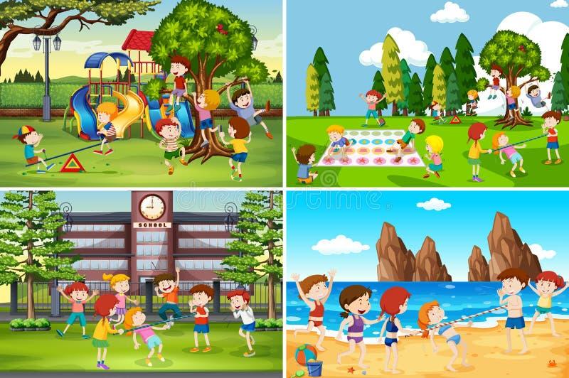 Un ensemble d'enfants jouant dans l'emplacement différent illustration stock