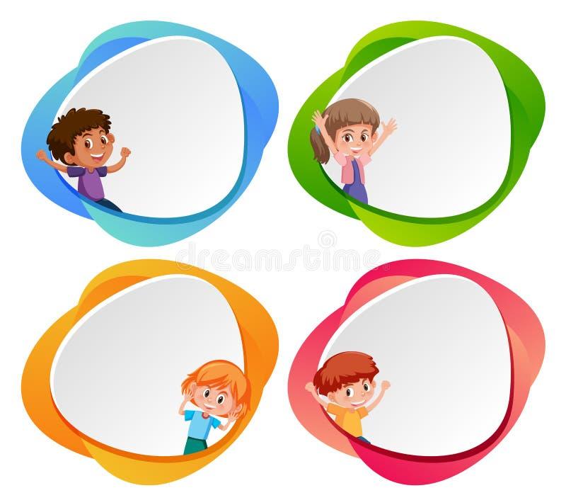 Un ensemble d'enfants sur la bannière vide illustration stock