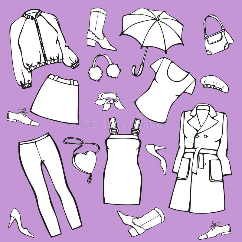 Un ensemble d'habillement, chaussures, accessoires Illustration d'isolement de vecteur pour la conception et la coloration illustration de vecteur