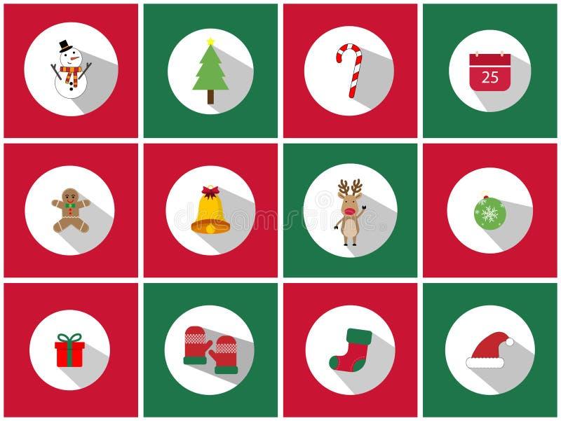 Un ensemble d'ensemble d'icône de Noël 12 Des icônes de jour de Noël peuvent être employées dans les affaires de publicité pour e illustration de vecteur