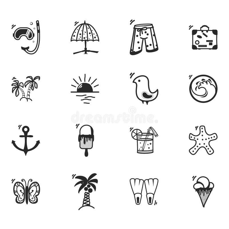 Un ensemble d'icônes d'été, dans un griffonnage de style de bande dessinée, complètement fait main illustration libre de droits