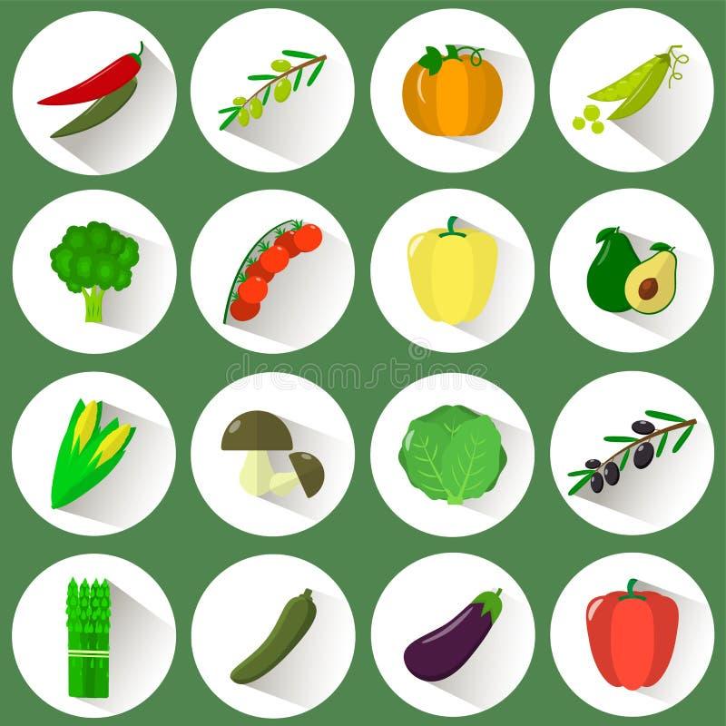 Un ensemble d'icônes de différents légumes en cercle blanc avec une ombre sur un fond vert illustration de vecteur