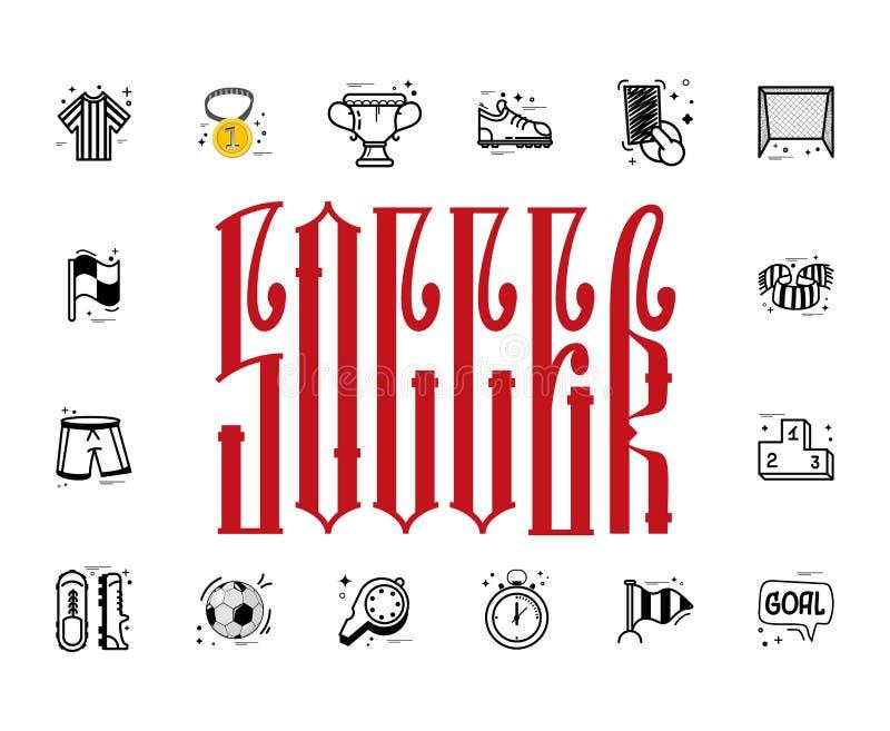 Un ensemble d'icônes et de lettrage du football dans un rectangle, dans un griffonnage de style de bande dessinée, complètement f illustration libre de droits