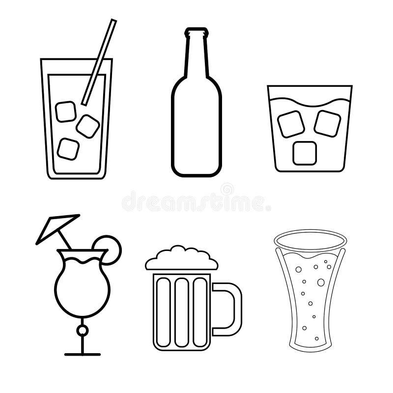 Un ensemble d'icônes noires et blanches simples des boissons alcoolisées pour une barre, café : cocktails, verres, bière, bouteil illustration stock