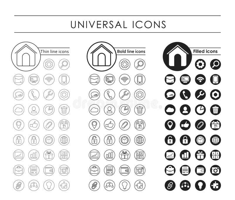 Un ensemble d'icônes noires universelles illustration libre de droits