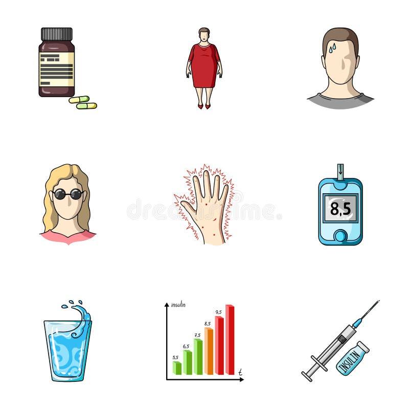Un ensemble d'icônes au sujet des diabètes Symptômes et traitement de diabète Icône de diabète dans la collection d'ensemble sur  illustration libre de droits