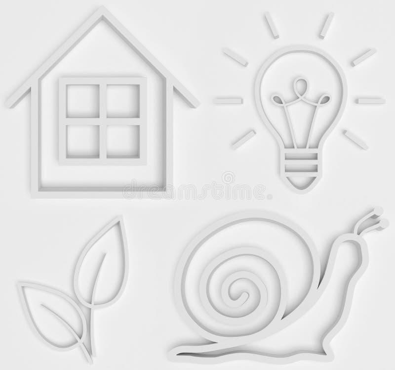 Un ensemble d'icônes convexes blanches de découpe de petite maison, d'escargot, de lampe et de feuille sur un fond blanc illustration stock