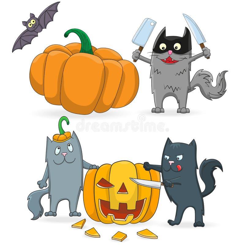 Un ensemble d'illustrations de bande dessinée sur le thème de Halloween, les chats drôles a coupé le potiron d'isolement sur un f illustration stock
