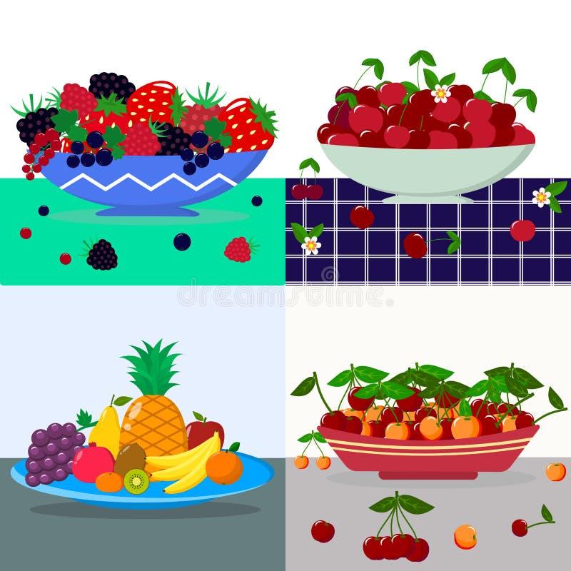 Un ensemble d'illustrations de vecteur d'un plat des fruits et des baies sur une table illustration libre de droits
