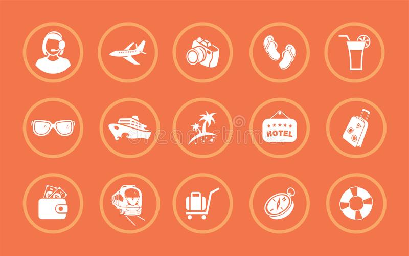 Un ensemble d'illustrations de vecteur pour l'enregistrement d'un sujet de touristes illustration libre de droits