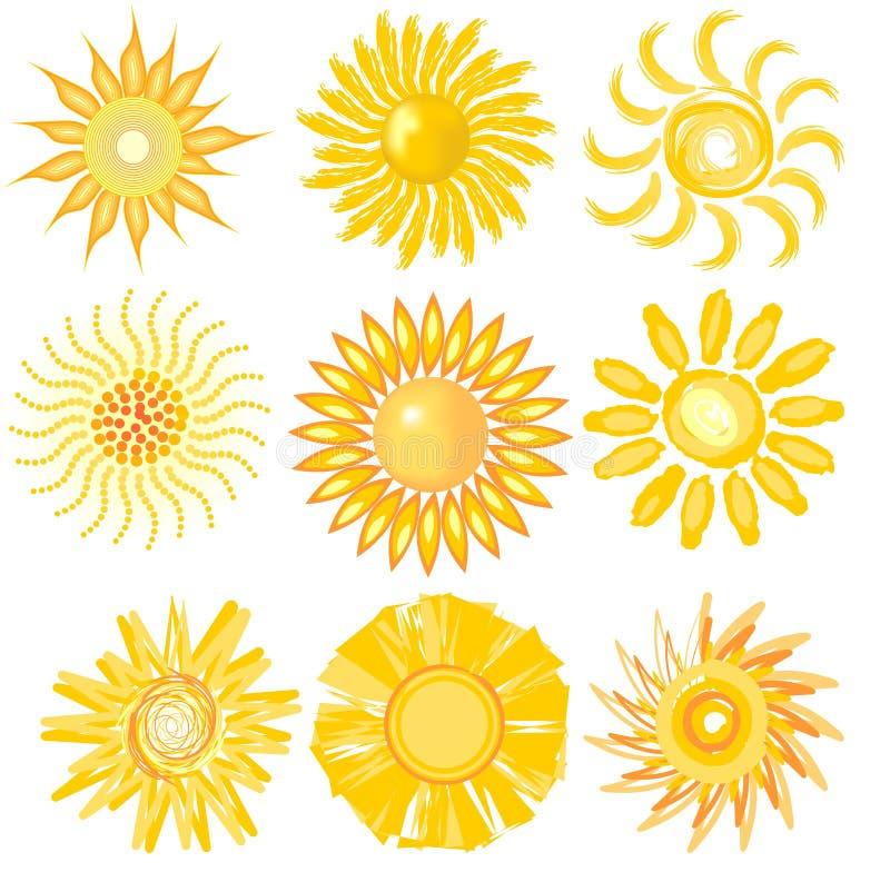 Un ensemble d'image mignonne du soleil dans la diverse technique de vecteur illustration libre de droits