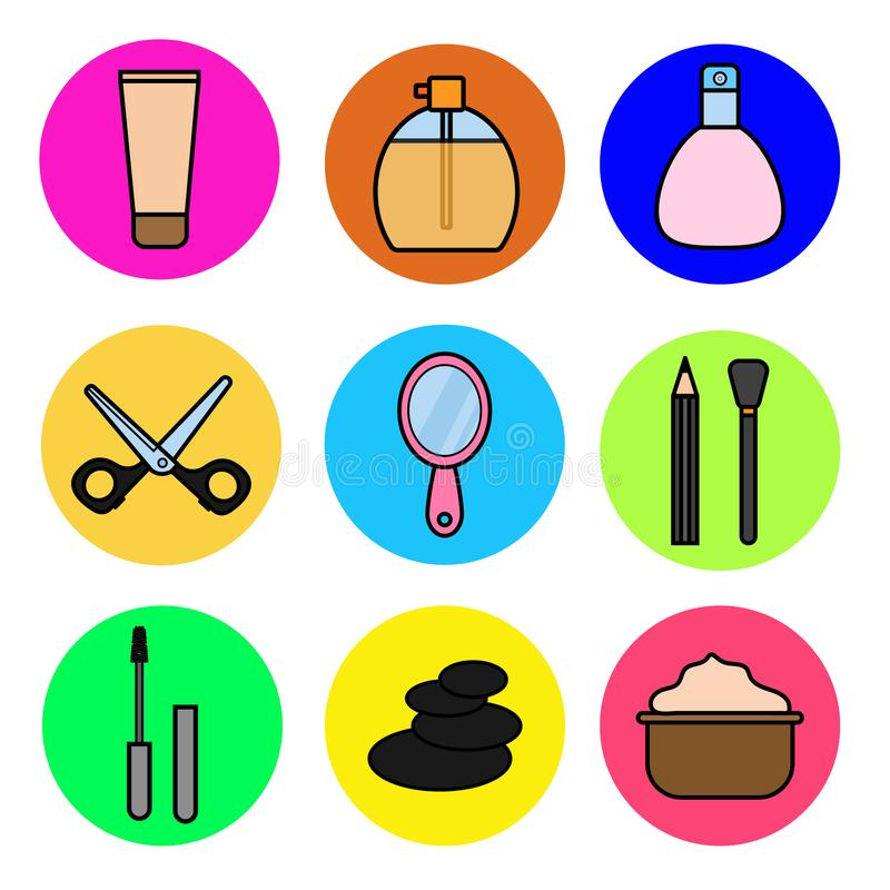 Un ensemble d'objets fascinants d'icône dans un style plat de beauté de mode et de cosmétiques femelles : base, crayons cosmétiqu illustration libre de droits