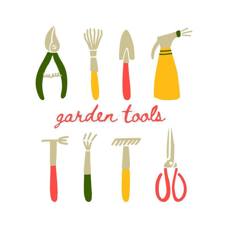Un ensemble d'outils de jardin illustration libre de droits