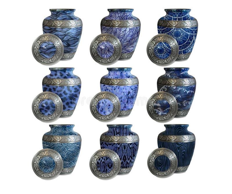 Un ensemble d'urnes funèbres modernes pour des mémoriaux image stock