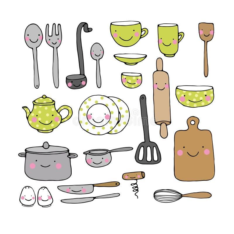 Un ensemble d 39 ustensiles de cuisine illustration de for Ustensile cuisine rose