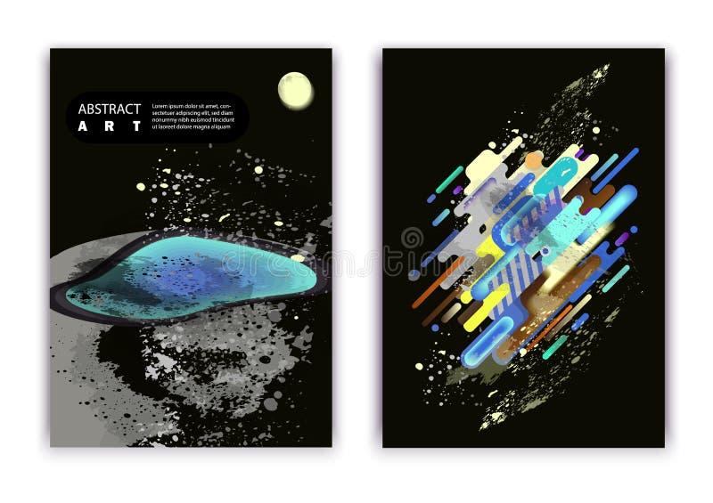 Un ensemble de 2 abstractions avec un thème cosmique, une planète et des ovales à la mode et rayures illustration stock