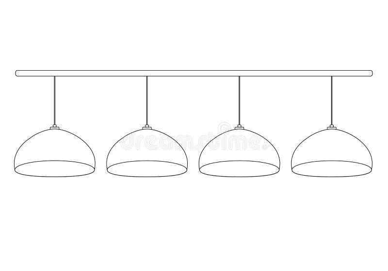 Un ensemble de 4 ampoules semi-circulaires de billard accrochant dans une rangée sur les fils sur le bâton horizontal Contour de  illustration stock
