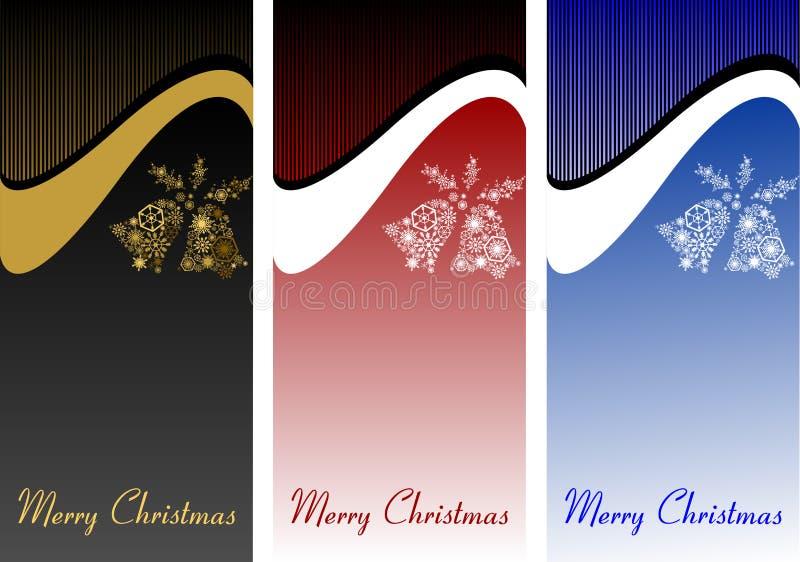 Un ensemble de bannières de Noël, cartes avec les cloches blanches Dos de fête illustration stock