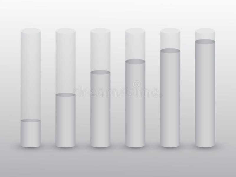 Un ensemble de barres de tube avec des niveaux d'eau sur le fond noir et blanc pour montrer la croissance économique et le succès illustration de vecteur