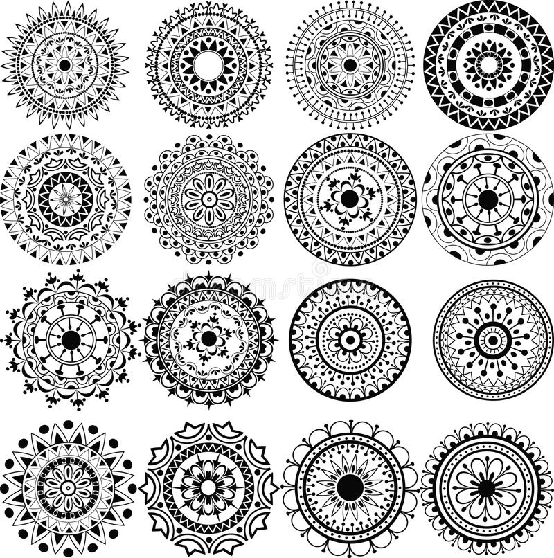 Un ensemble de beaux mandalas et cercles de lacet illustration stock