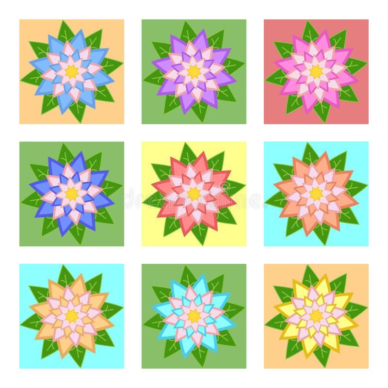 Un ensemble de belles fleurs colorées sur les places bleues, jaunes, vertes, oranges D'isolement sur le fond blanc Neuf options a illustration stock