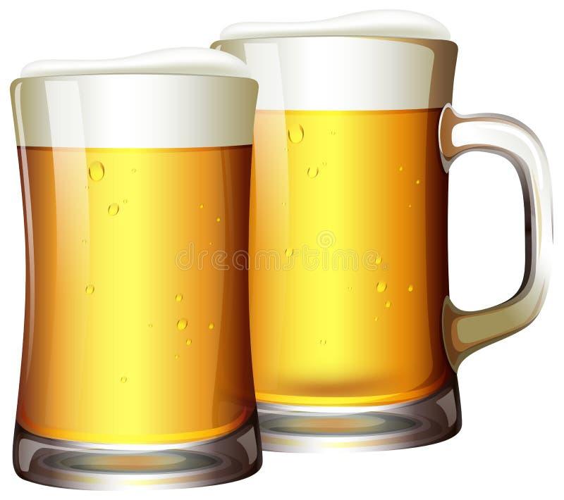Un ensemble de bières dans la tasse illustration stock
