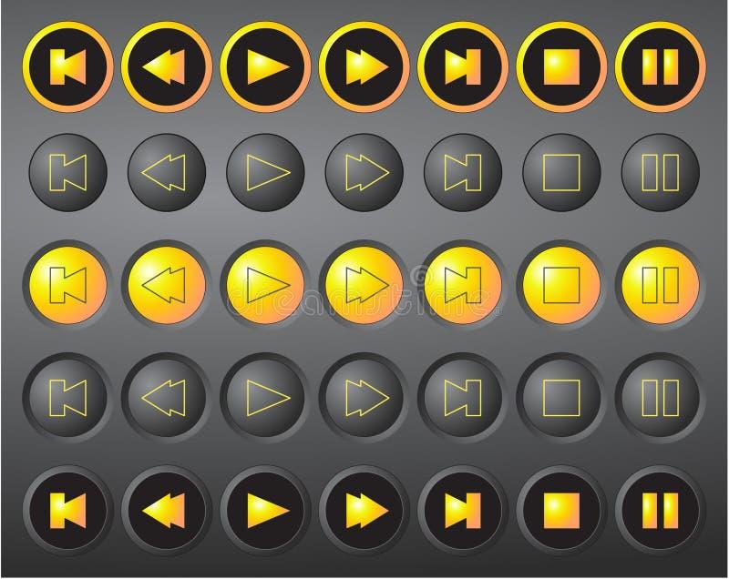 Un ensemble de boutons ronds de medias de vecteur illustration de vecteur