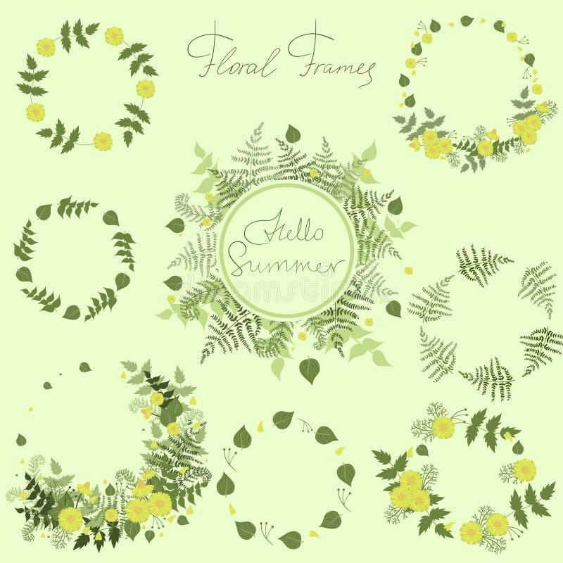 Un ensemble de cadres floraux sous forme de guirlandes Collection de vecteur illustration stock