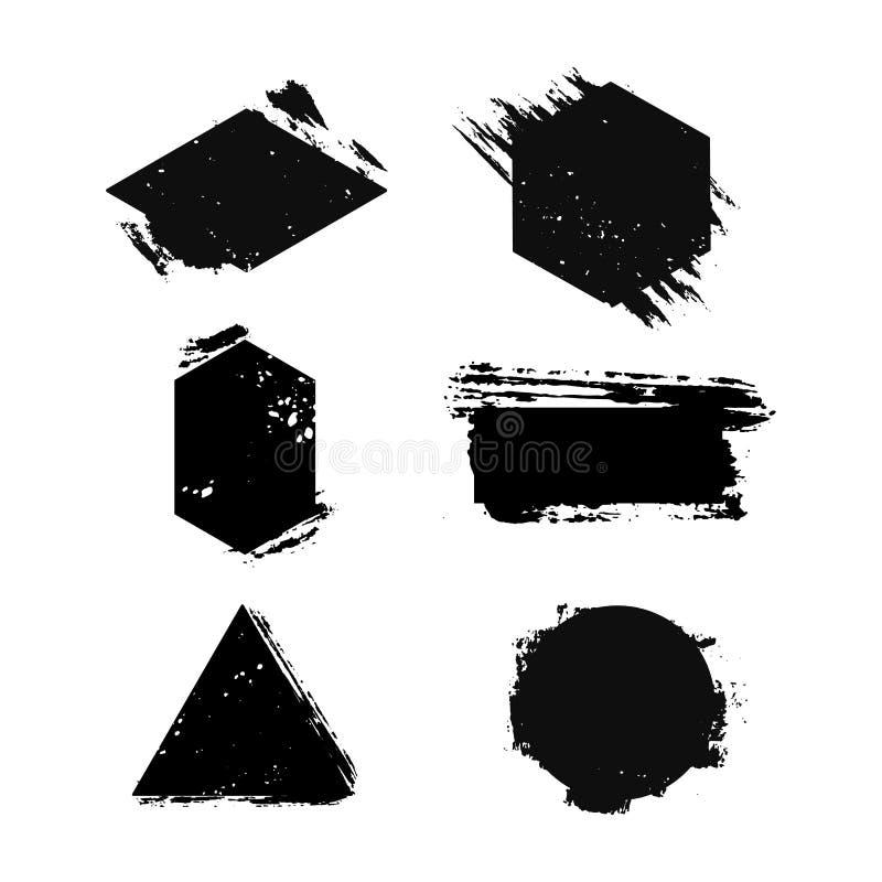 Un ensemble de calibres pour des logos Taches abstraites d'encre Symbole avec la texture de brosse Icônes universelles pour la co illustration stock