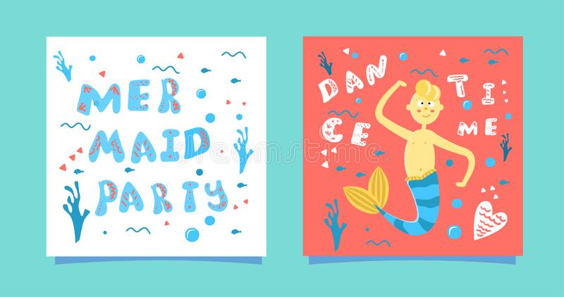 Un ensemble de cartes avec un garçon de sirène de bande dessinée Aspiration de inscription bleue de main - partie de sirène sur u illustration stock