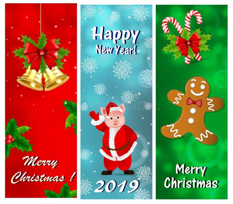 Un ensemble de cartes de voeux pour la nouvelle année et le Noël illustration de vecteur