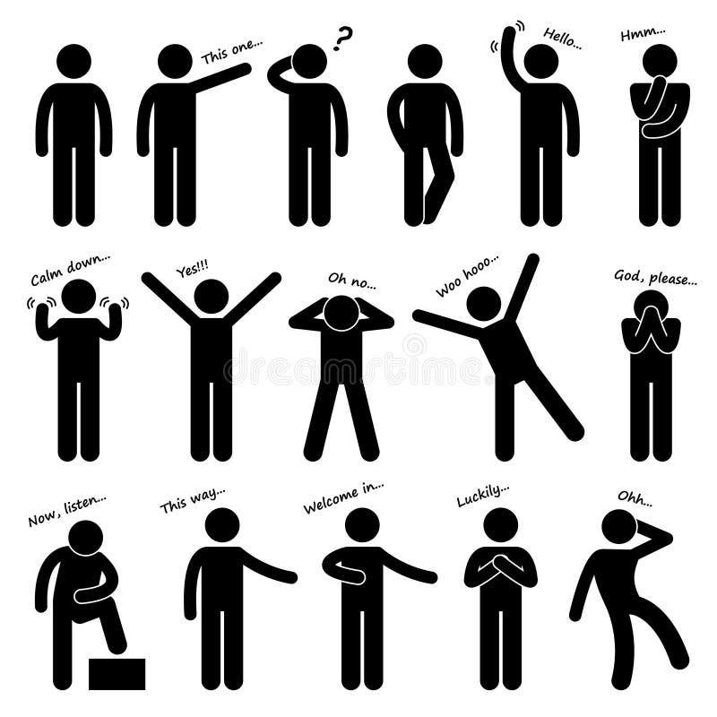 Pictogramme de langage du corps de posture de personnes d'homme illustration libre de droits