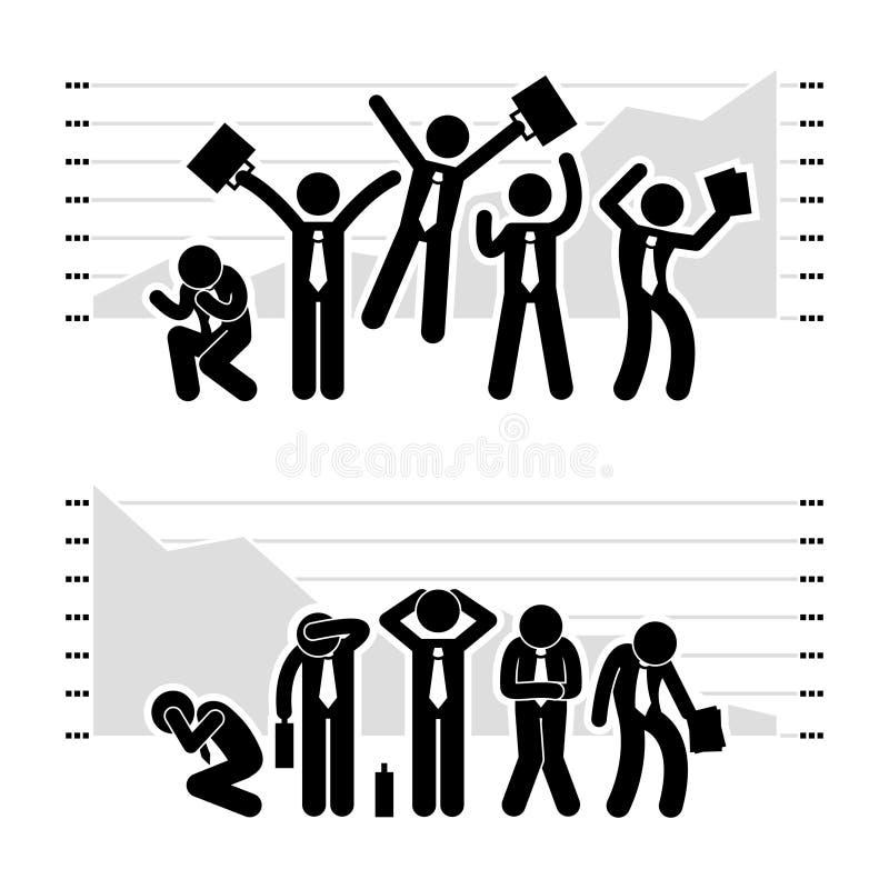 Pictogramme perdant de gain de graphique d'homme d'affaires illustration libre de droits