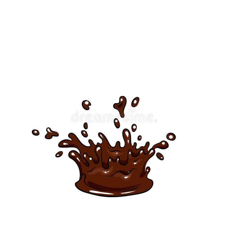 Un ensemble de chocolat Dirigez les bonbons, les puces, les barres et les taches et les taches de chocolat Chocolat fondu illustration libre de droits