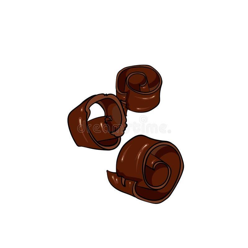 Un ensemble de chocolat Dirigez les bonbons, les puces, les barres et les taches et les taches de chocolat Chocolat fondu illustration de vecteur
