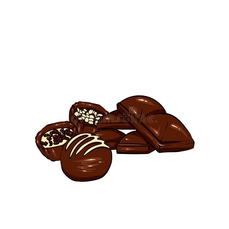 Un ensemble de chocolat Dirigez les bonbons, les puces, les barres et les taches et les taches de chocolat Chocolat fondu illustration stock