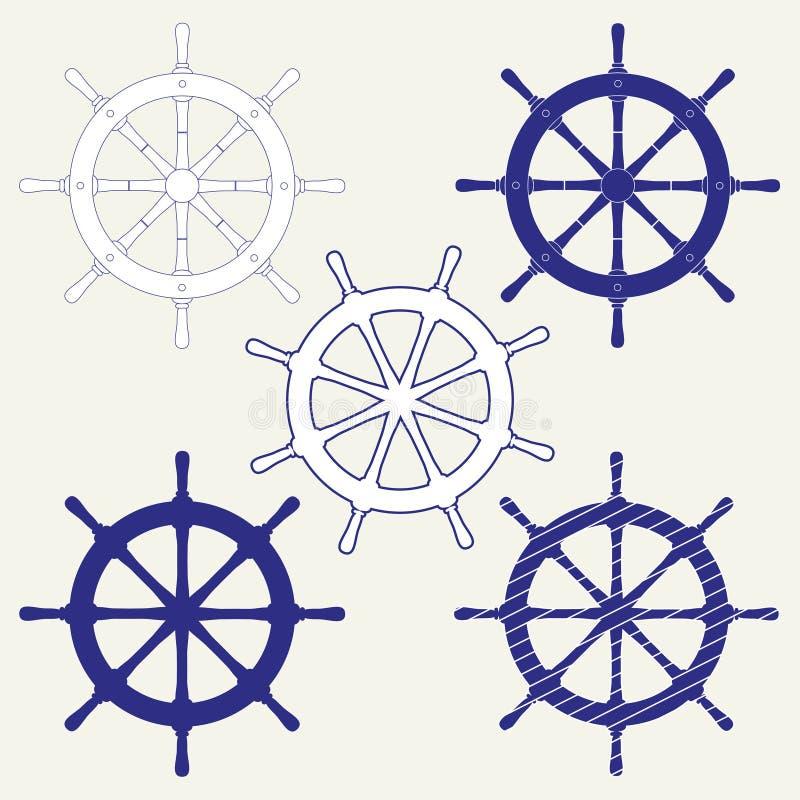 Un ensemble de cinq icônes des volants du bateau Illustration d'isolement de vecteur sur le fond gris illustration de vecteur