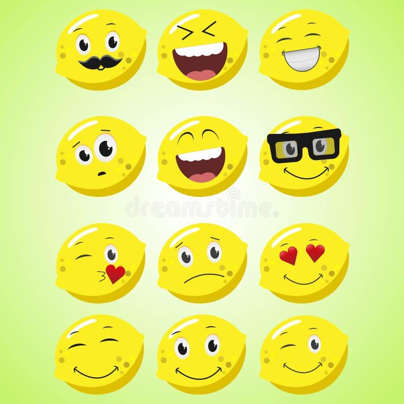 Un ensemble de citron de sourire simple Un personnage de dessin animé Icône de sourire mignonne de citron d'isolement sur le fond illustration de vecteur